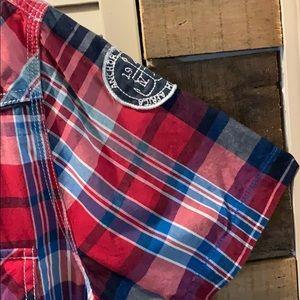 Arizona Jeans Casual Short Sleeve Plaid Shirt